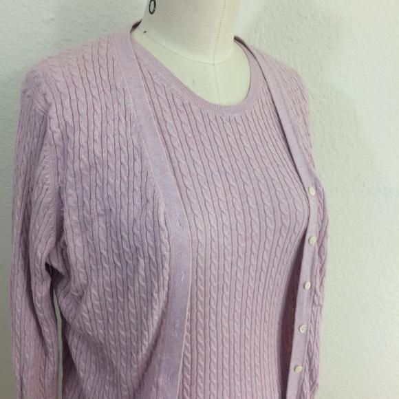 17c55daf7068d6 Brooks Brothers Sweaters - Brooks Brothers Pink Rib Knit Sweater Twin Set